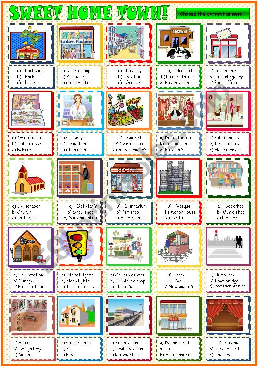 City places: multiple choice activity