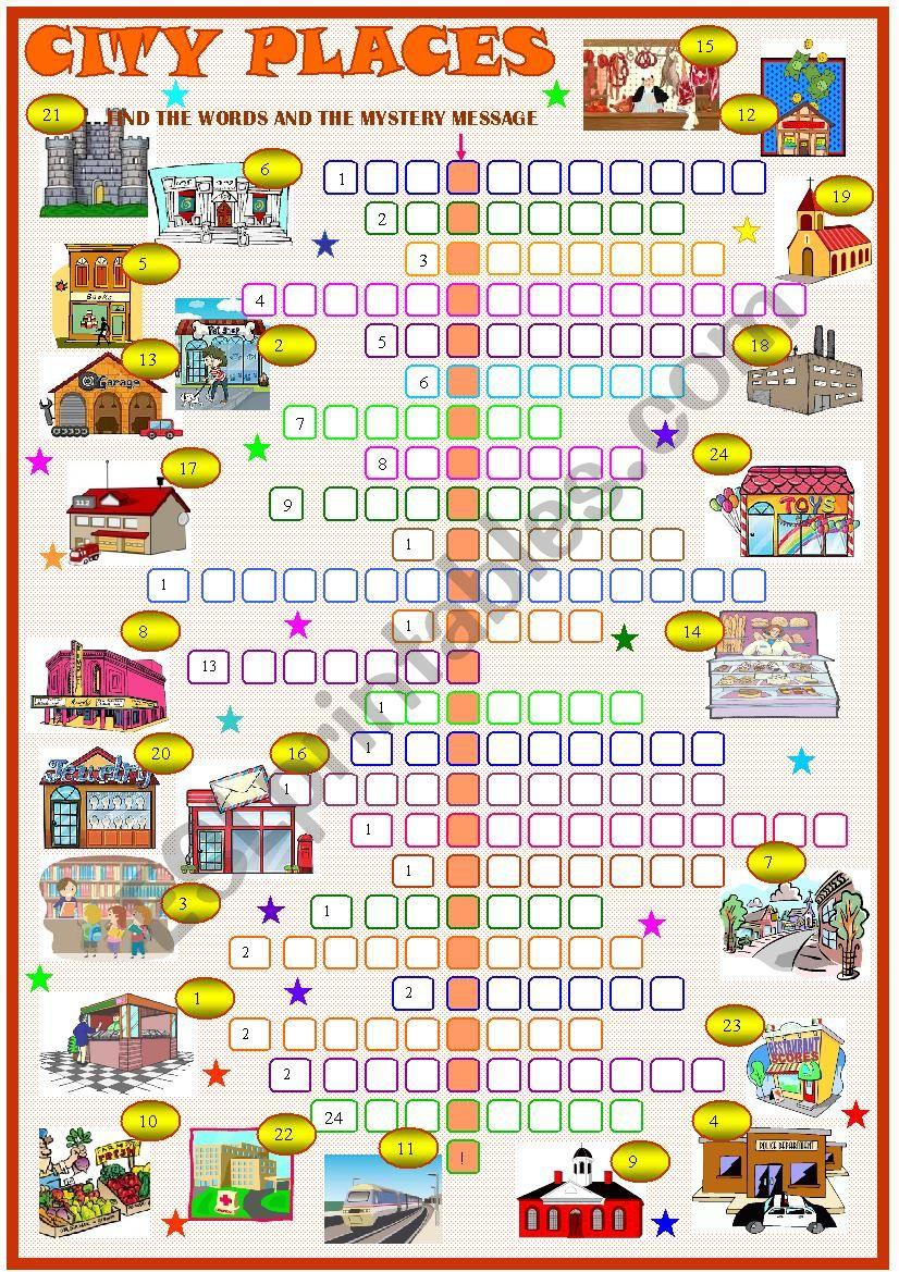 City places: crossword puzzle worksheet