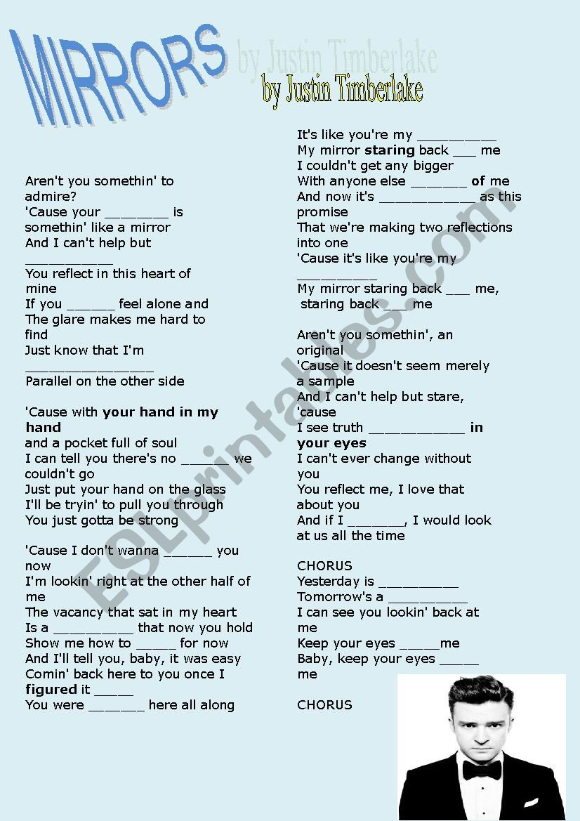 Mirror By Justin Timberlake Esl Worksheet By Iopipistrello