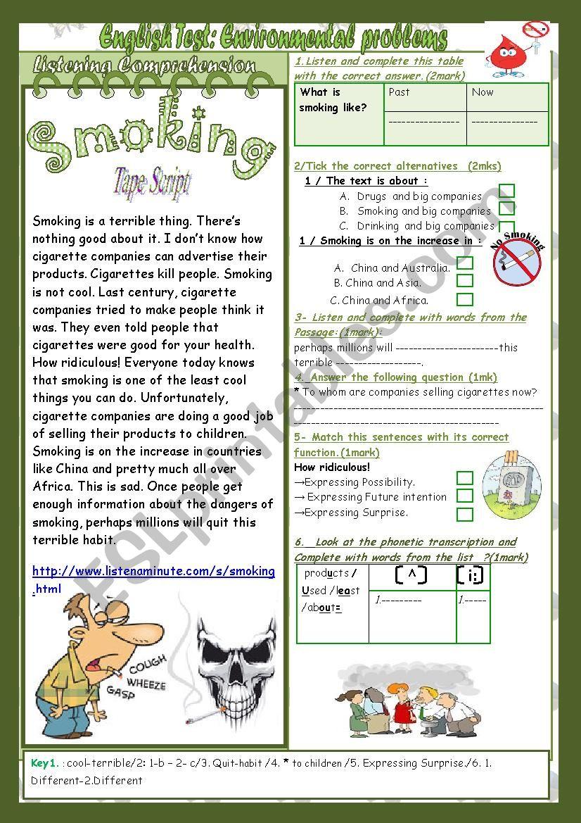 Environmental Problems(Mid term 2 Test 9th form)2parts: Listening+Language+Key+Link.