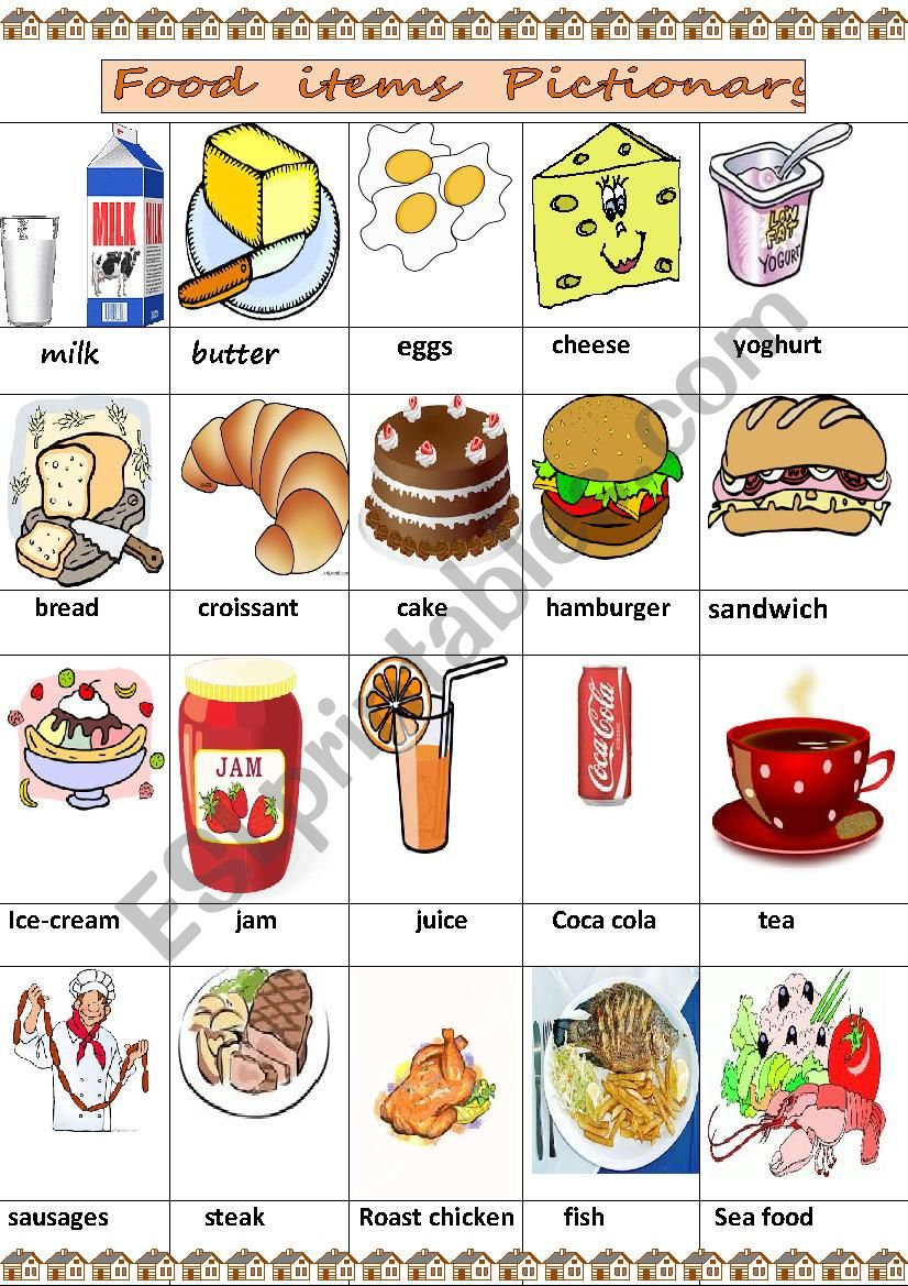 food items pictionary worksheet
