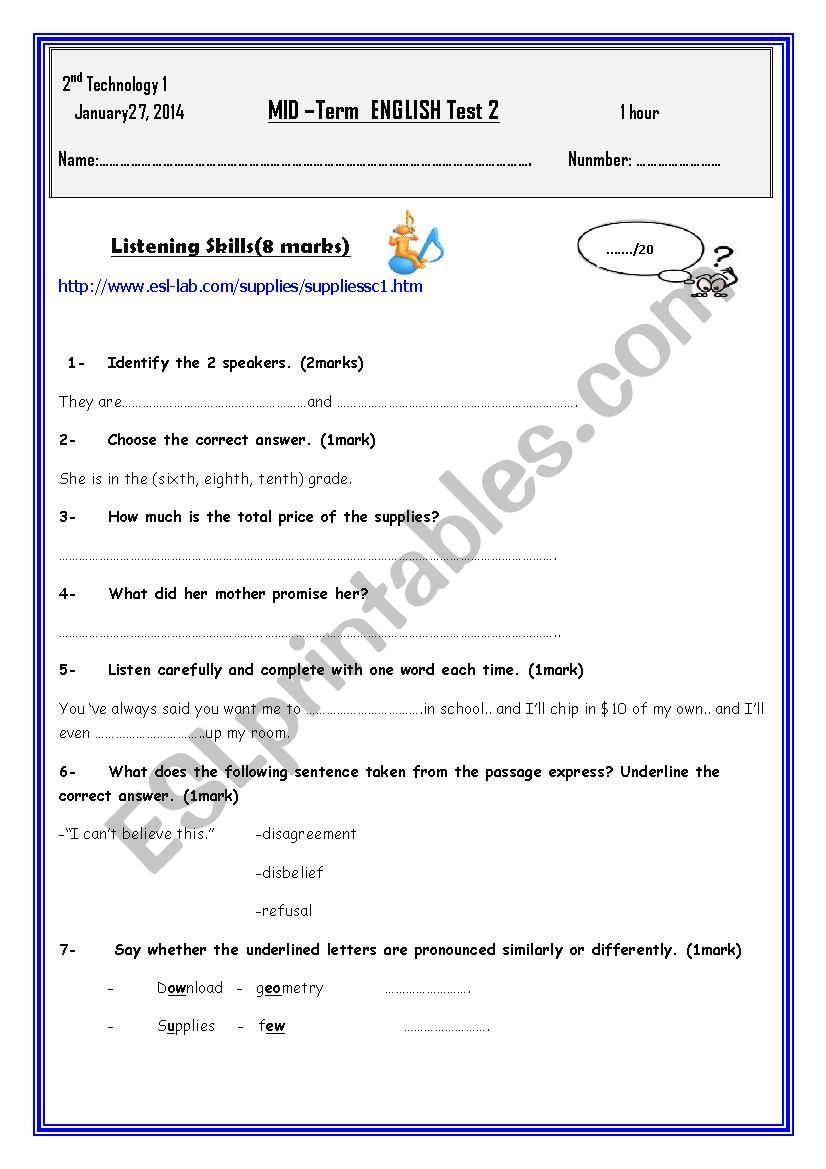 Mid - term test 2 Second form secondary