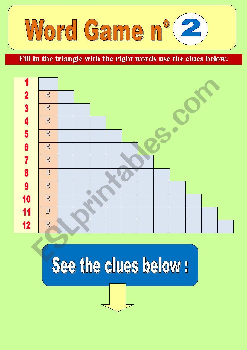 Word game n°2 _ word pyramid (triangle) for elementary students) - Focus on letter B (fully editable) & key included!