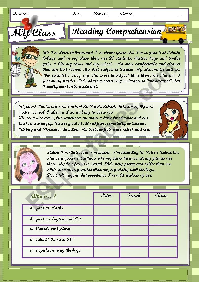 MY CLASS - Reading comprehension - ESL worksheet by spyworld