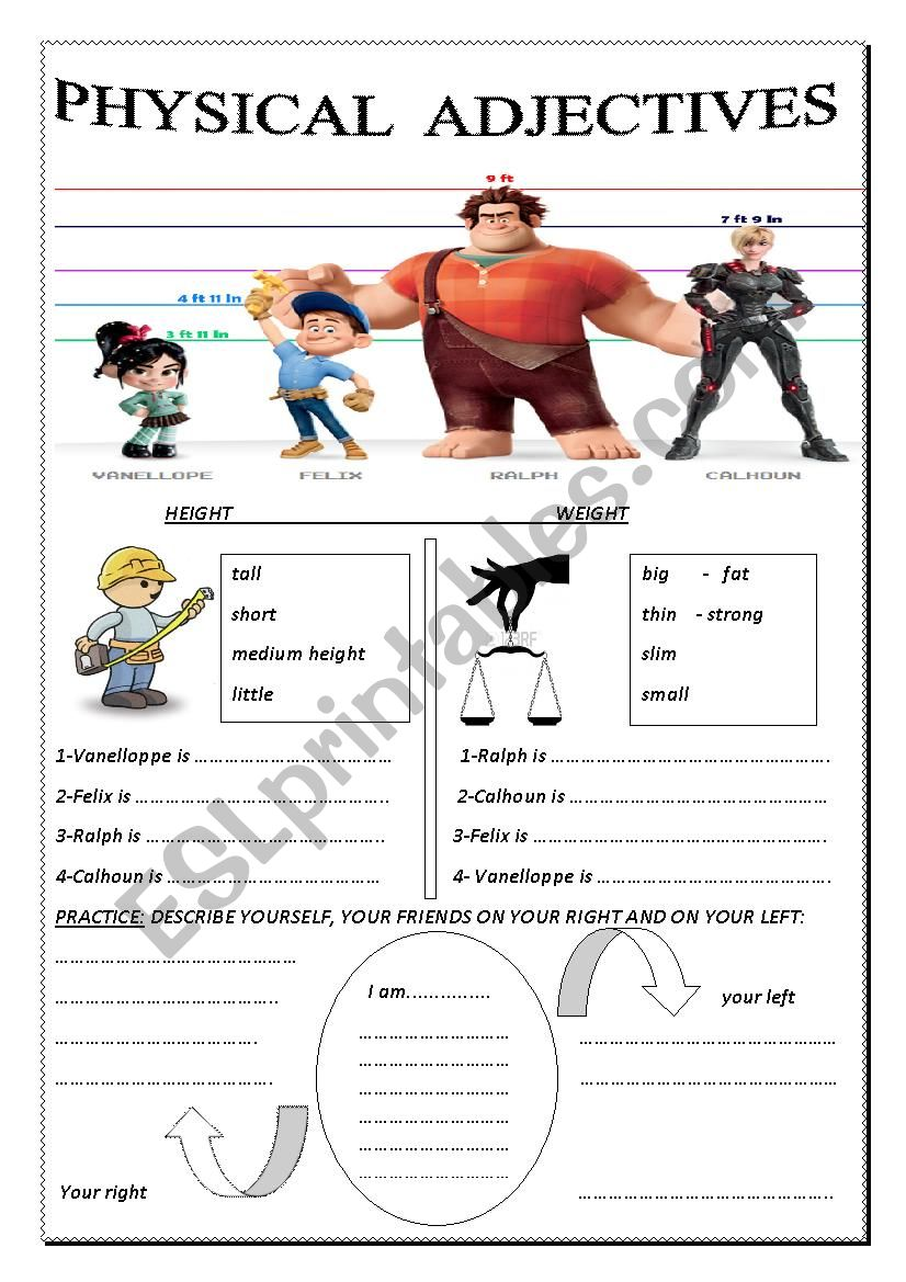 physical adjectives worksheet