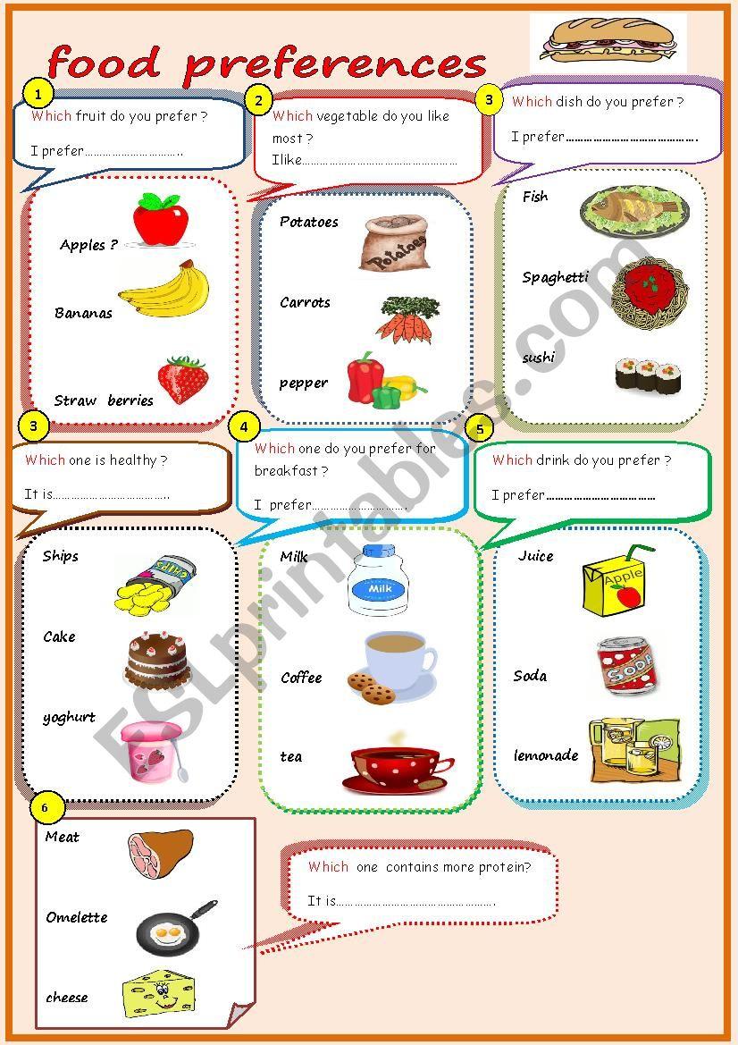 food preferences worksheet