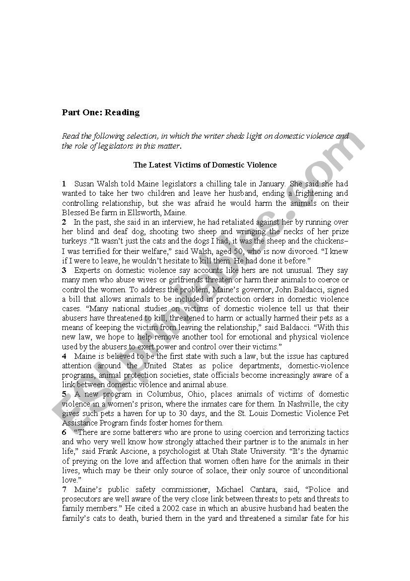 Domestic Violence Esl Worksheet By Rahmehm