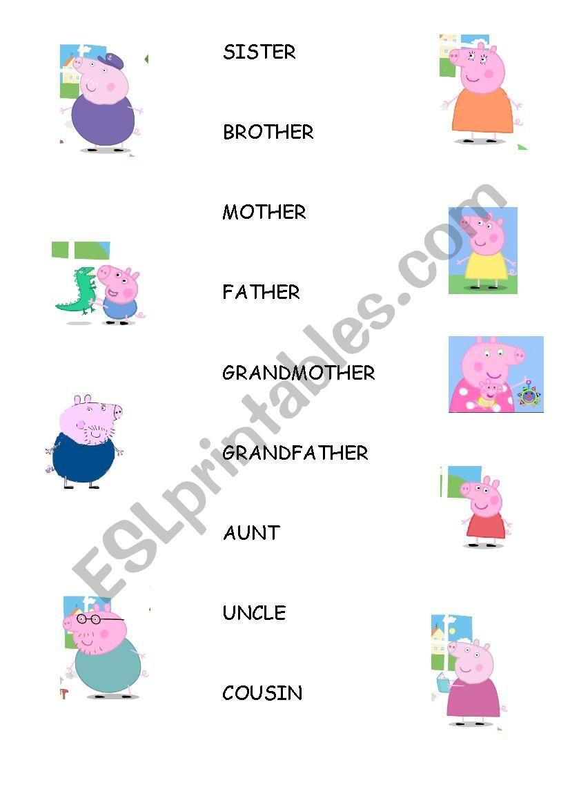 Family Vocabulary Peppa Pig Esl Worksheet By Crispitaranto