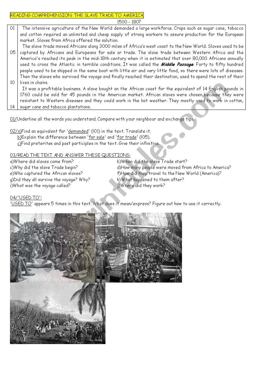 The Slave Trade to America (text+questions+focus on used to and preterite)