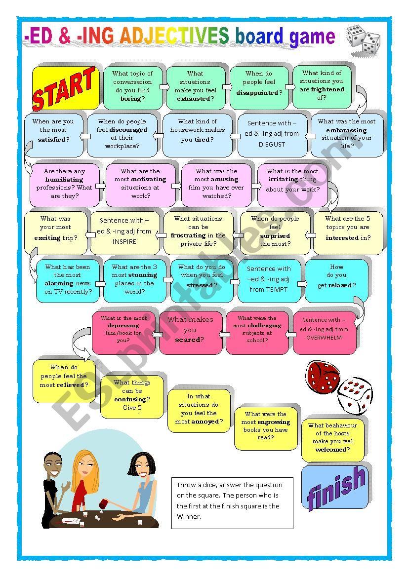 ED & - ING adjectives board game - ESL worksheet by Keyeyti