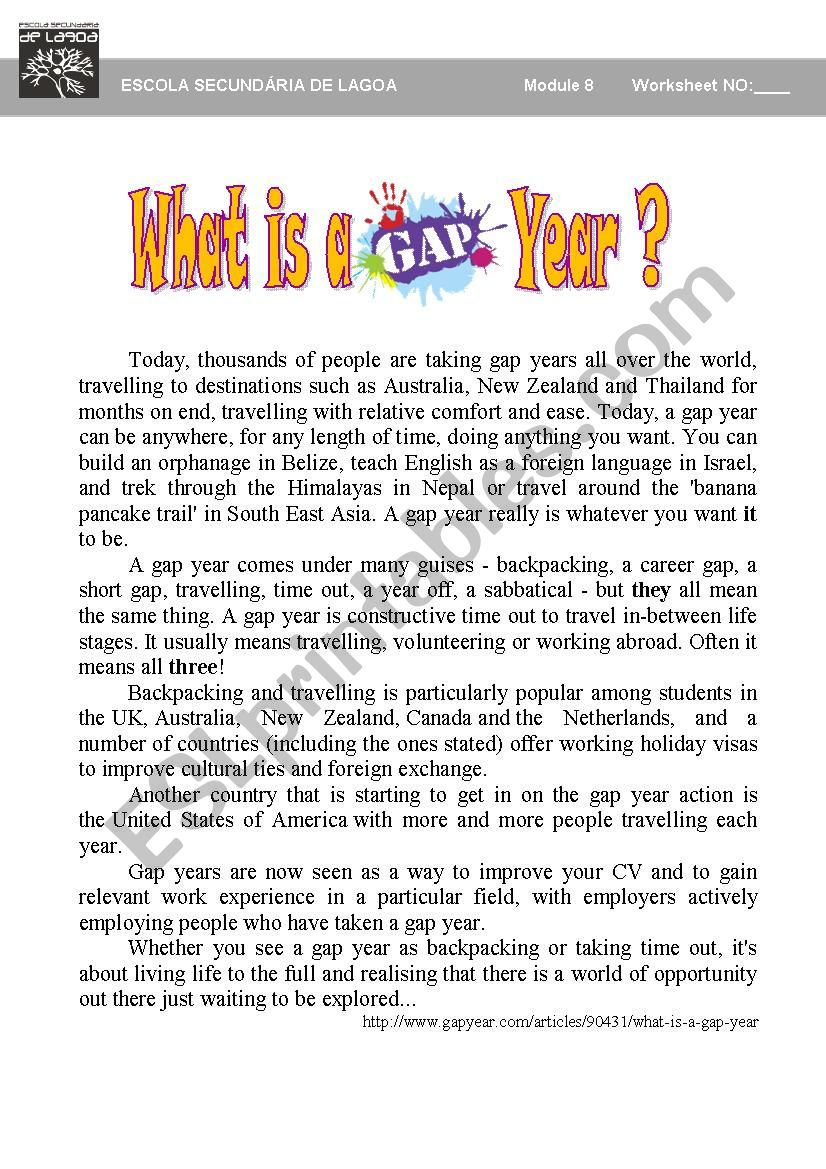 What is a gap year? worksheet