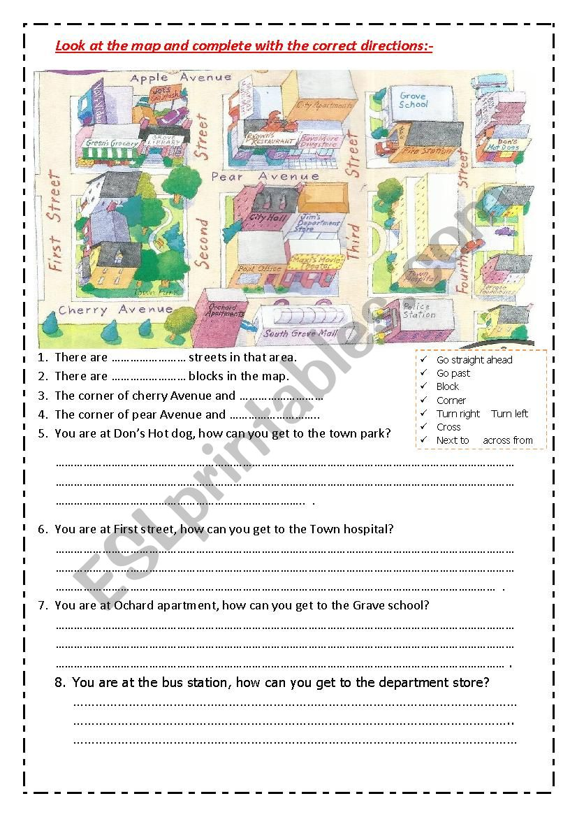 directions in maps2 worksheet