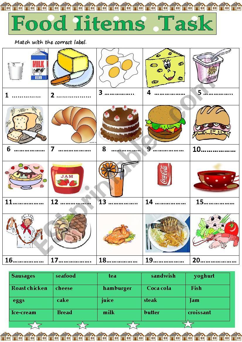 food items task worksheet