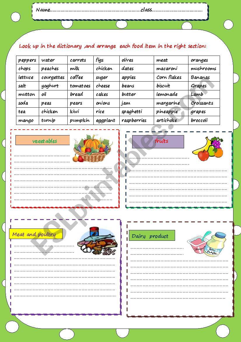 classify food items worksheet