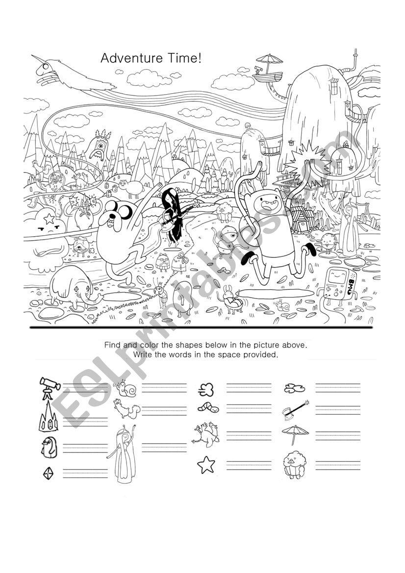 adventure time hidden object worksheet esl worksheet by zorq. Black Bedroom Furniture Sets. Home Design Ideas