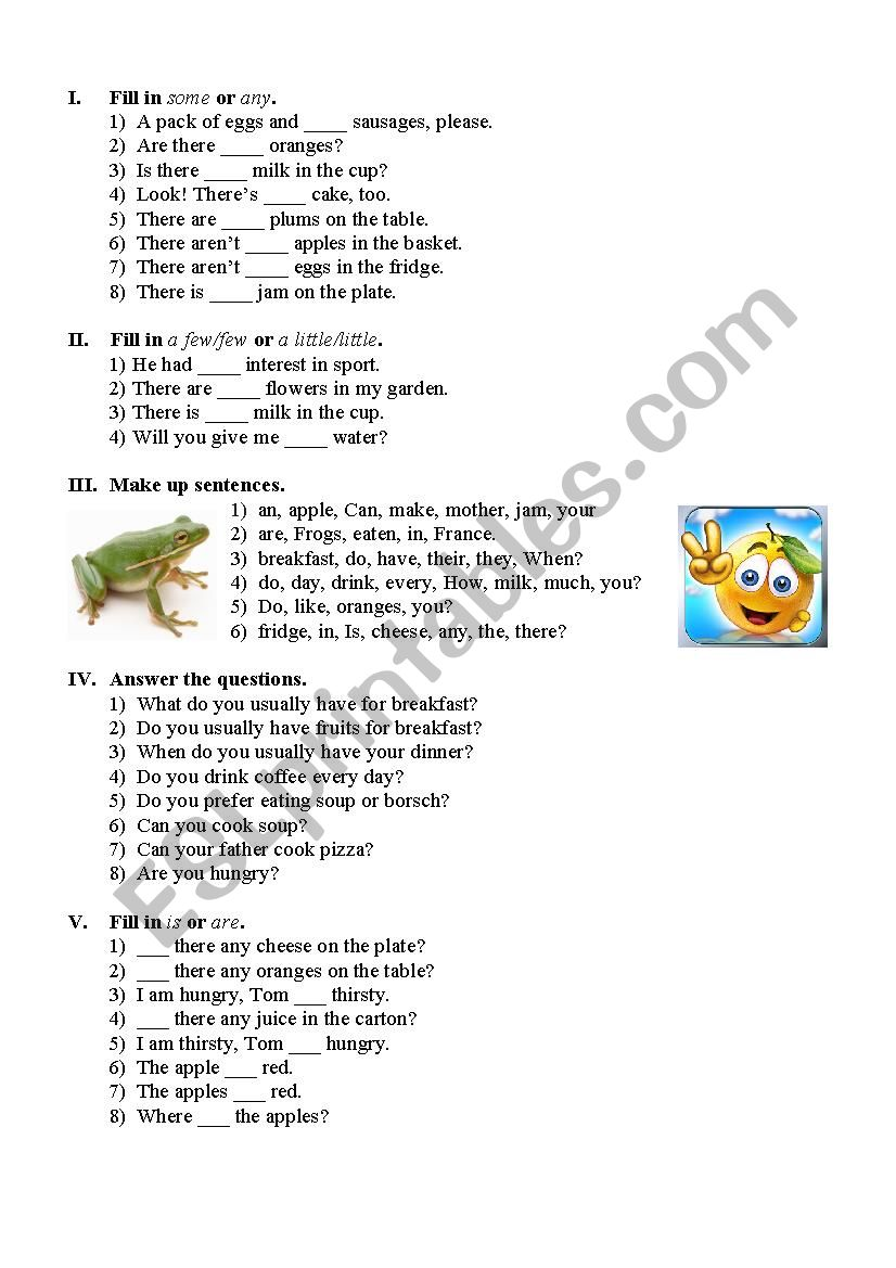 Let´s have a snack worksheet