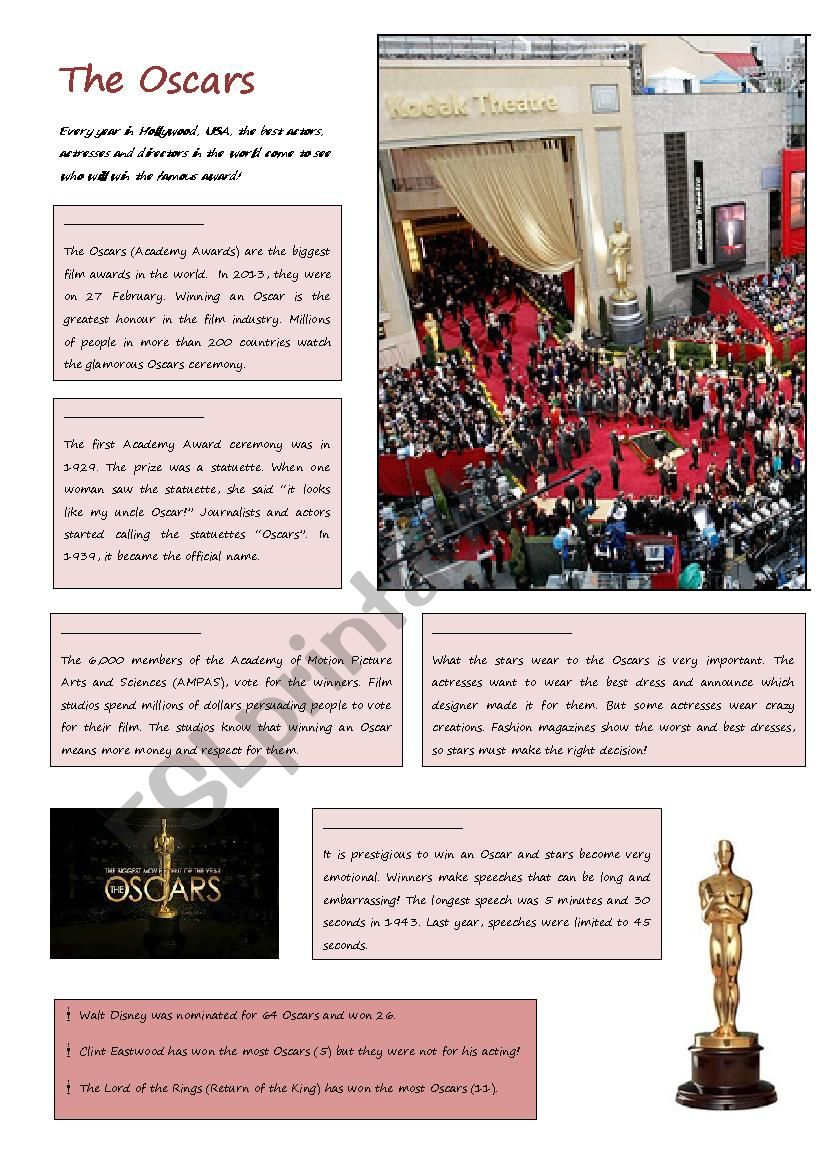 The Oscars worksheet