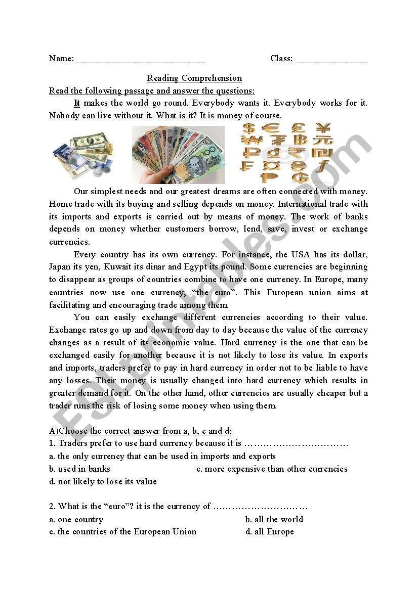 - Reading Comprehension- Currency - ESL Worksheet By Suseee