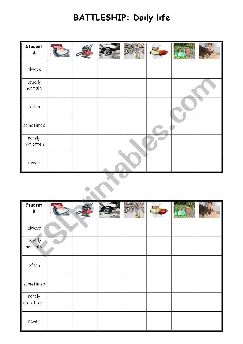 Battleship - daily life worksheet