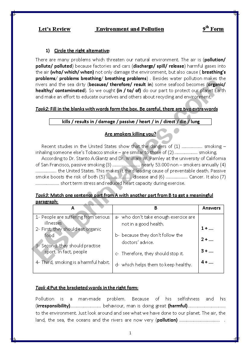 revision for 9th form tunisian pupils (environment and pollution)