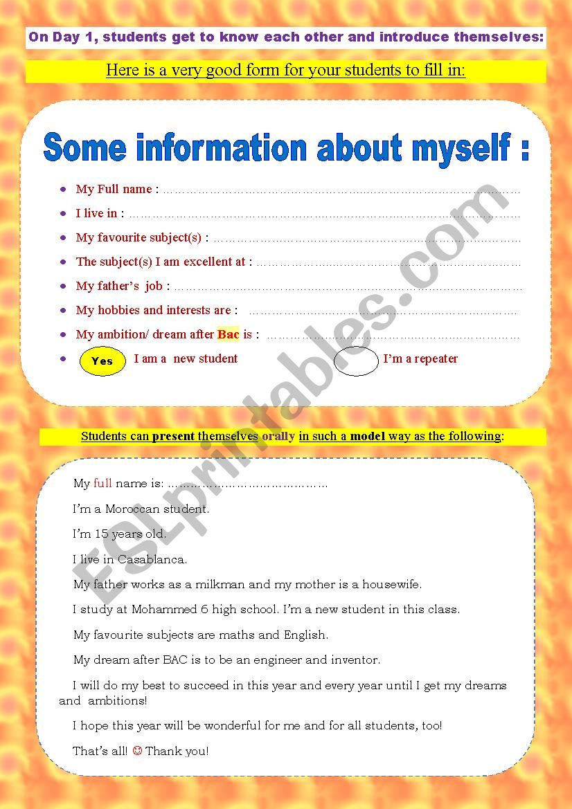 Students´ information sheet/ form _ A very useful speaking and ice-breaking activity for day 1
