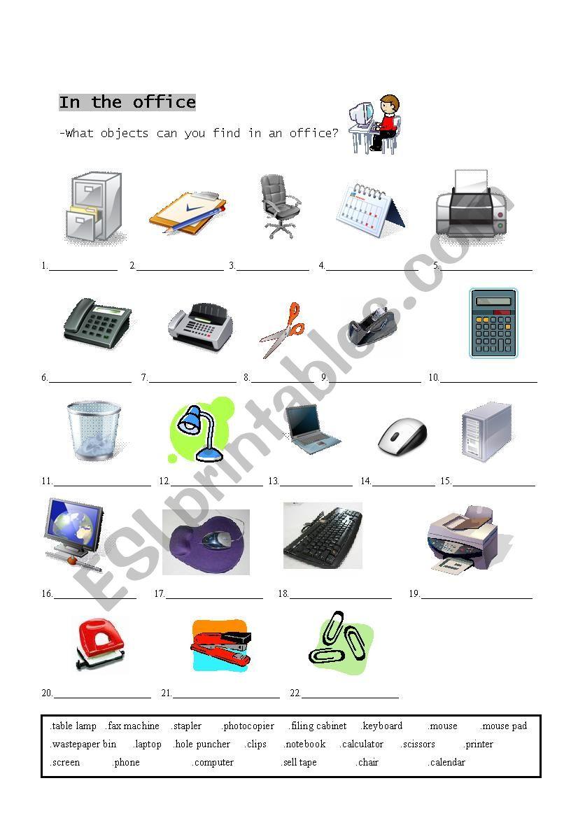 Office Supplies Esl Worksheet By