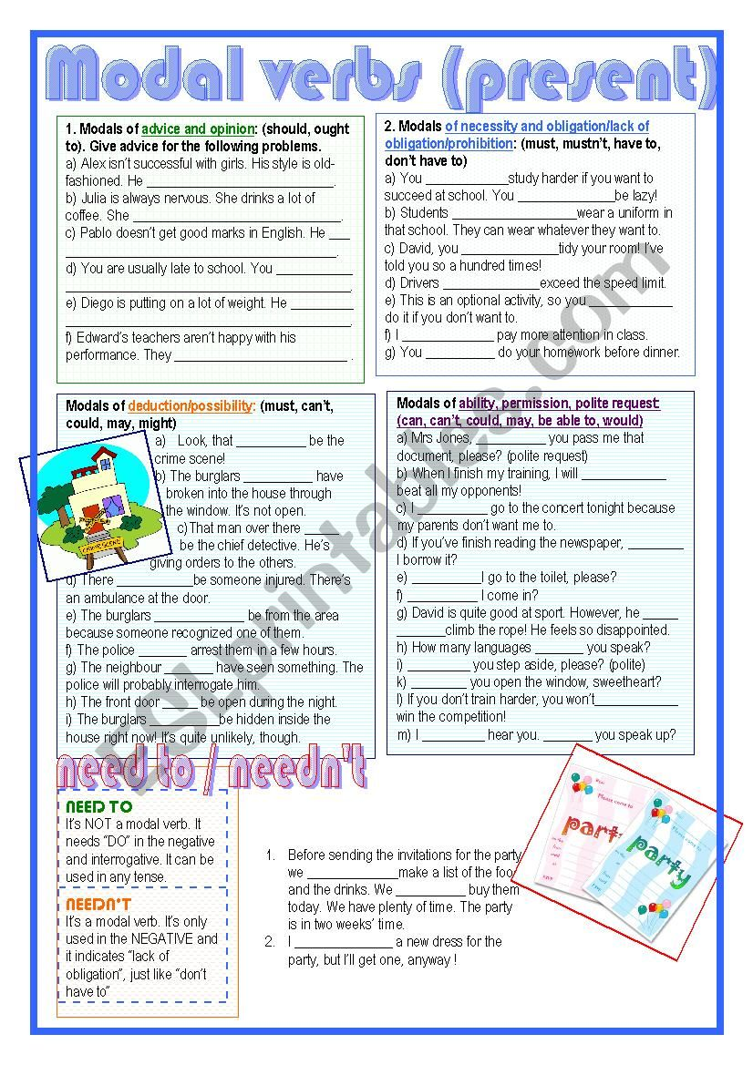 modal verbs (present) worksheet