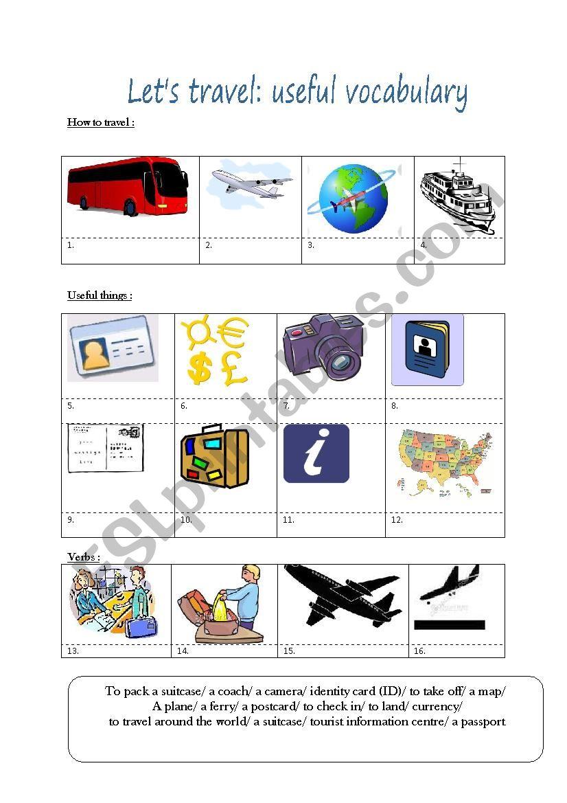 Travel: useful vocabulary worksheet
