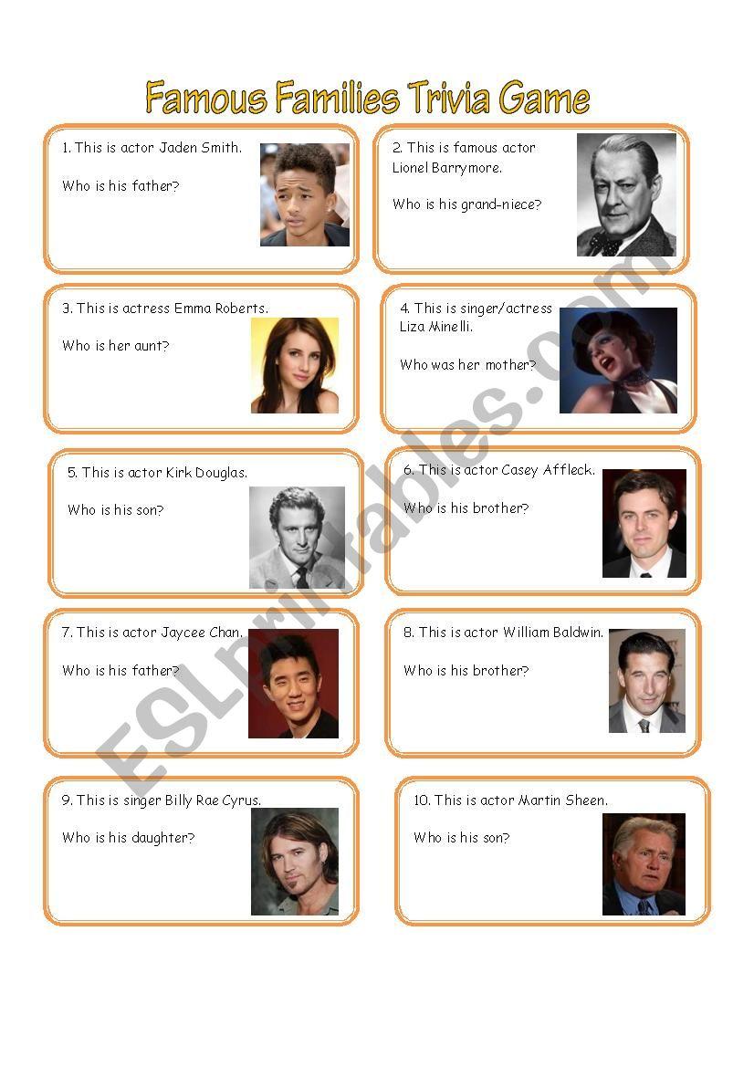 Famous Family Trivia Game worksheet