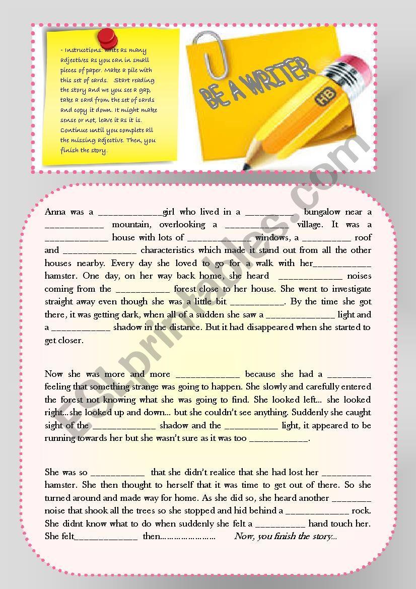 Writing using adjectives - ESL worksheet by maytechuna