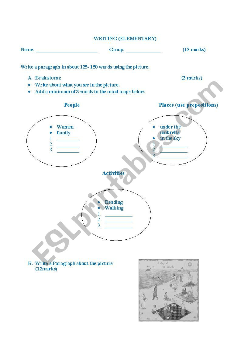 Descriptive Paragraph worksheet