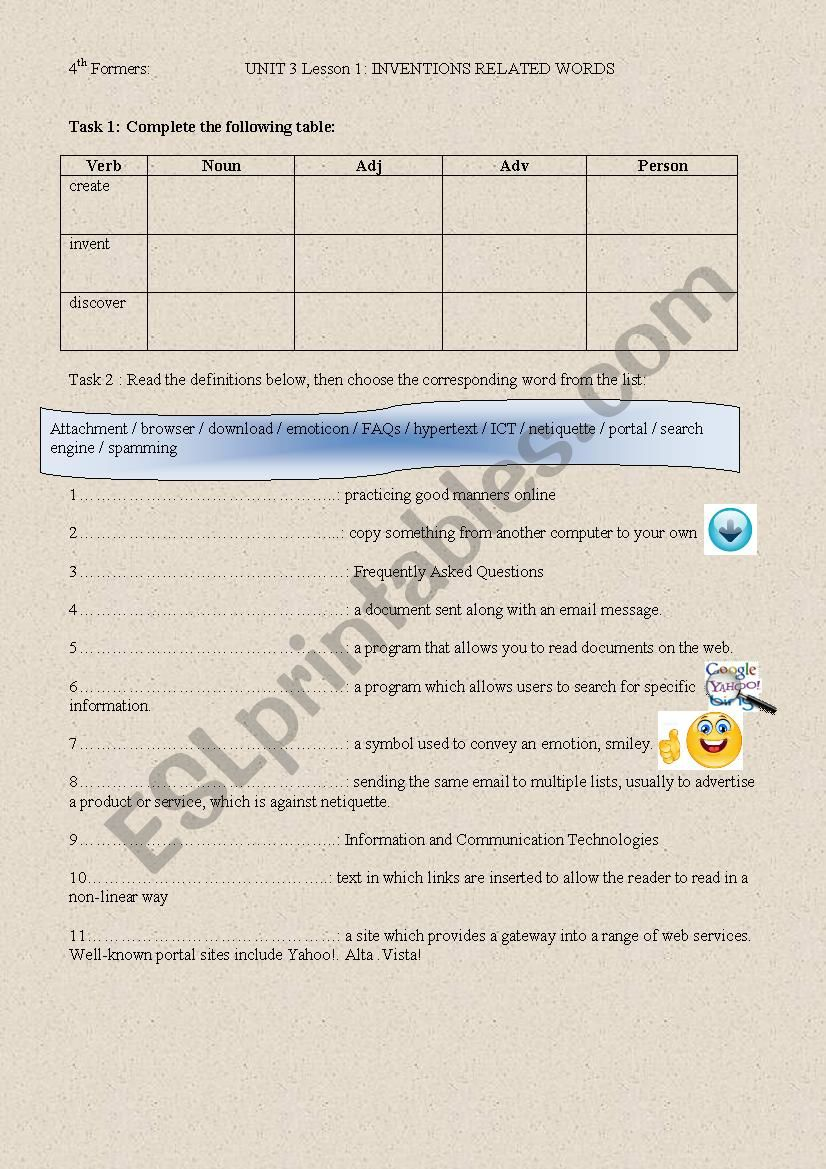 inventions related words worksheet