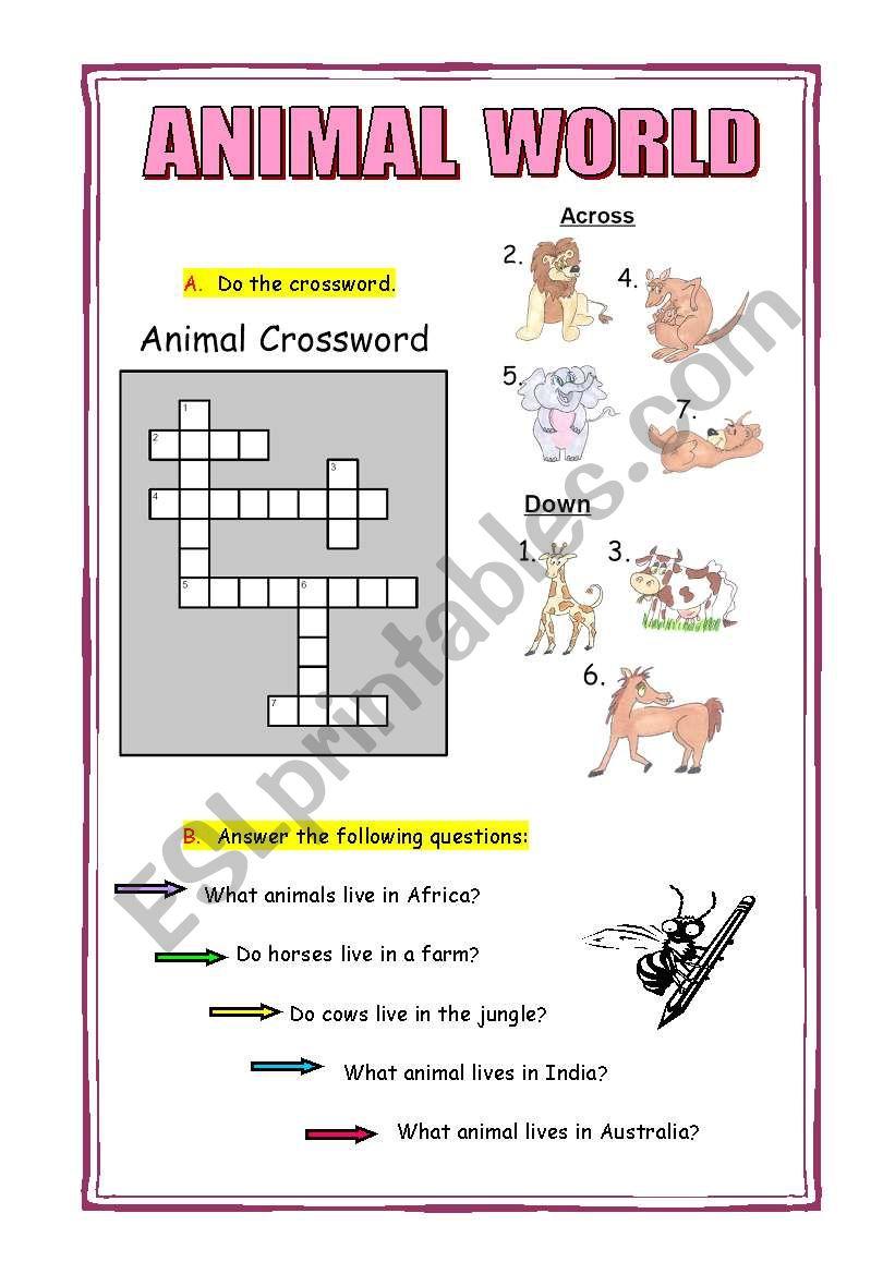 ANIMAL WORLD - ESL worksheet by nuribox