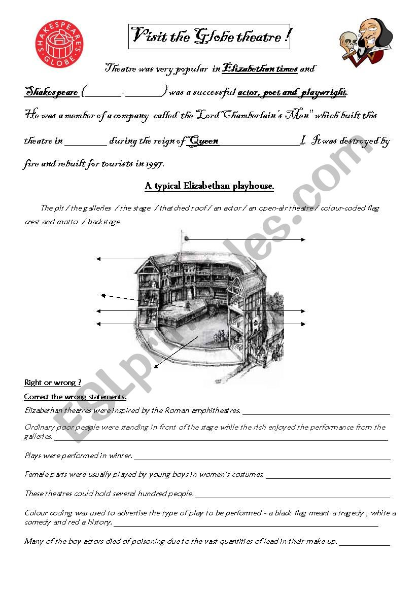 Visit the Globe Theatre! worksheet