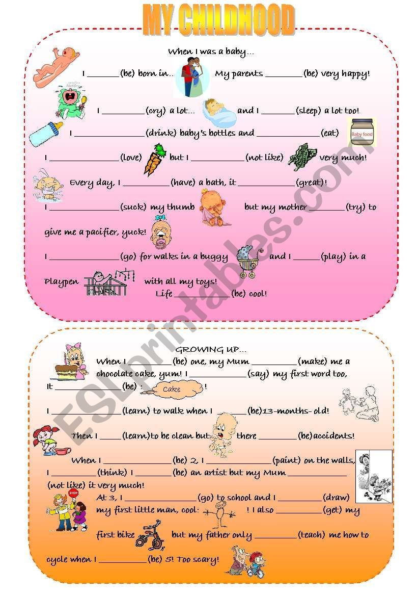 Childhood vocabulary and simple past