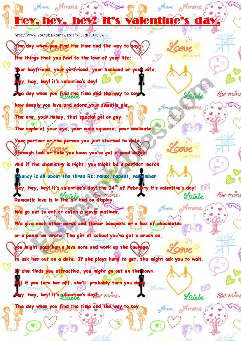 VALENTINE´S RAP SONG worksheet