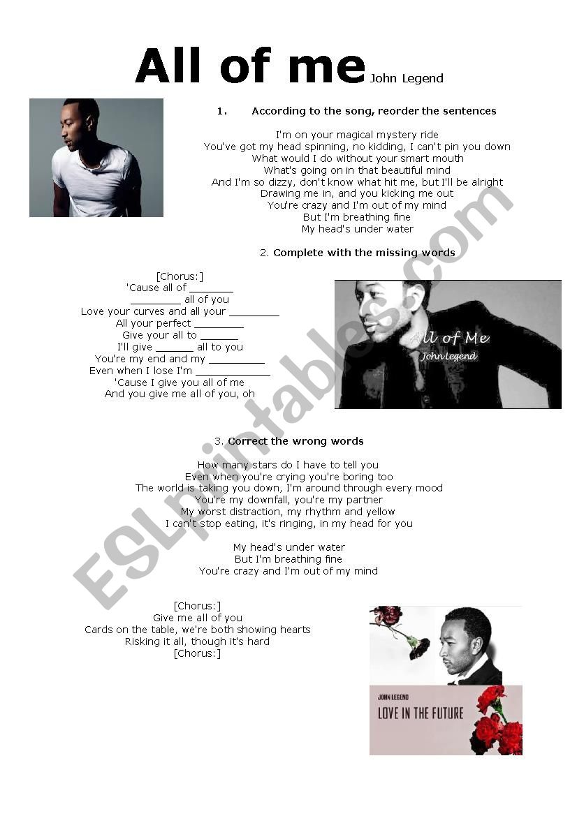 Song All of me worksheet