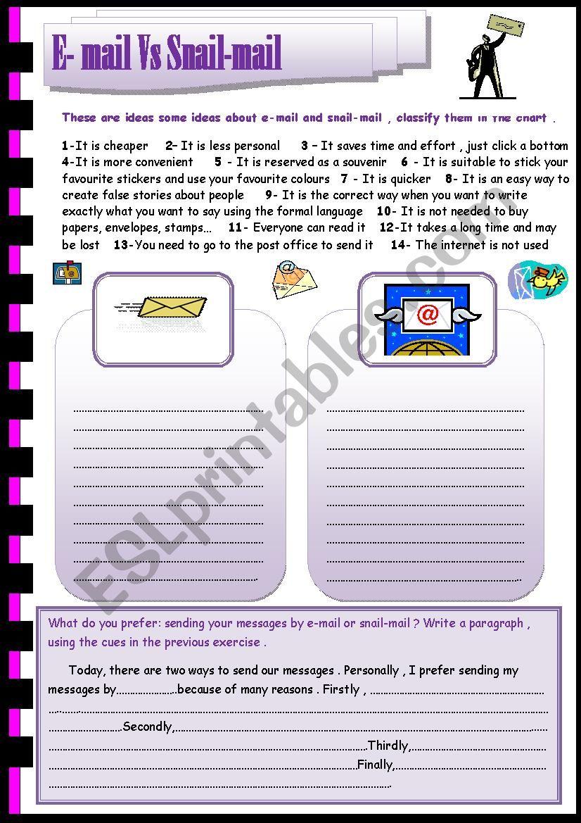 e-mail Vs snail-mail worksheet