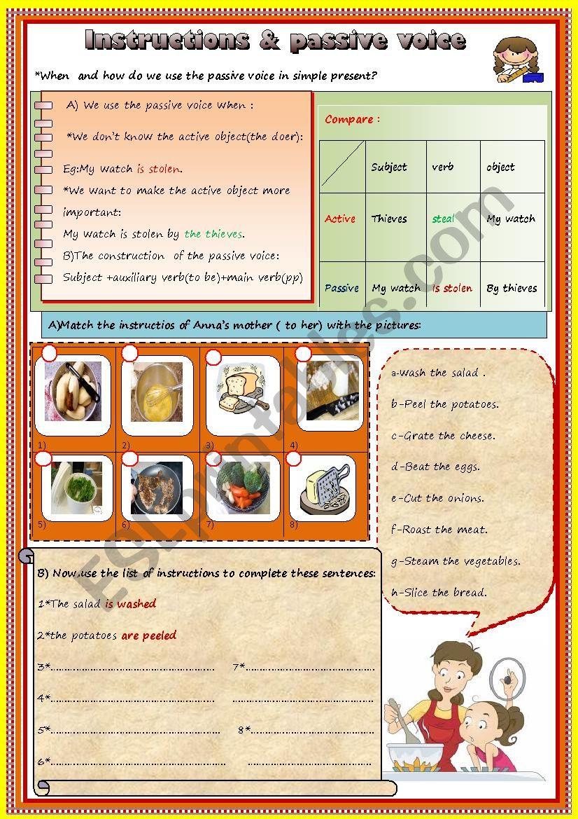 Instructions & passive voice worksheet