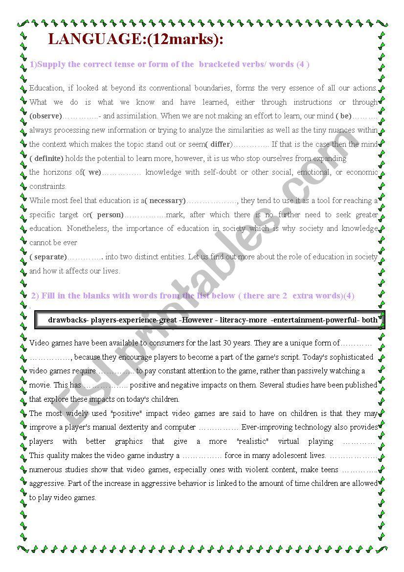 language tasks worksheet