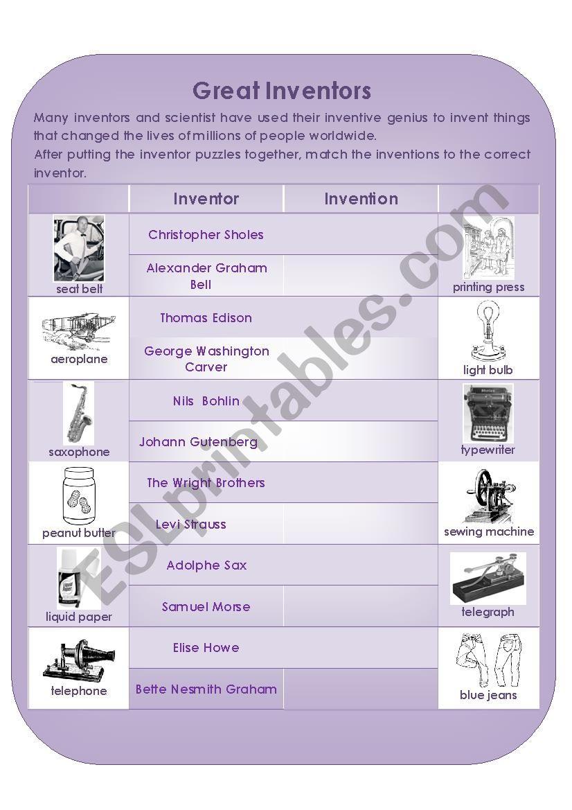 Great Inventors worksheet