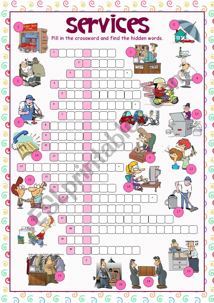 Services (Crossword Puzzle) worksheet