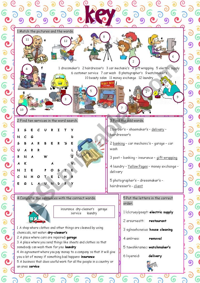 Services (Vocabulary Exercises) - ESL worksheet by kissnetothedit