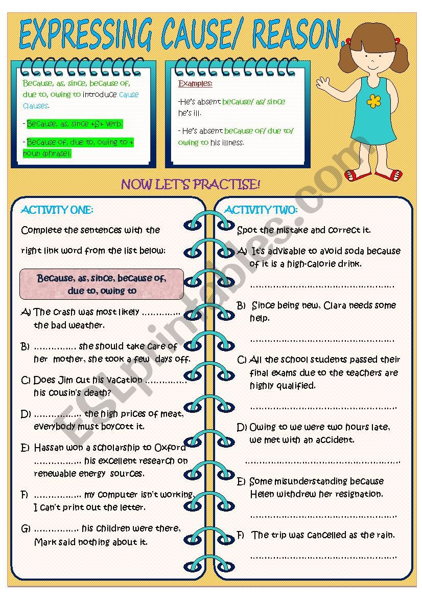 EXPRESSING CAUSE/ REASON. worksheet