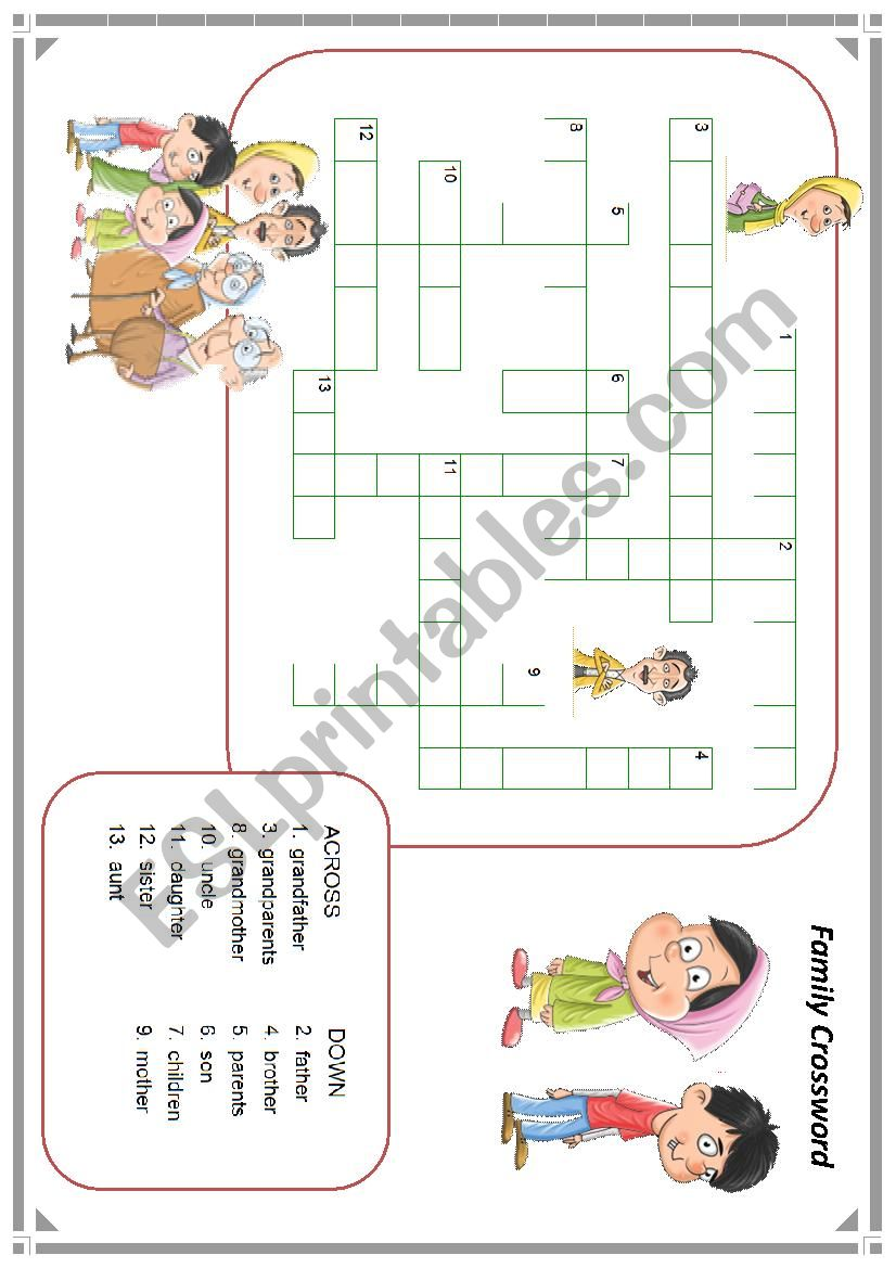 family member crossword worksheet