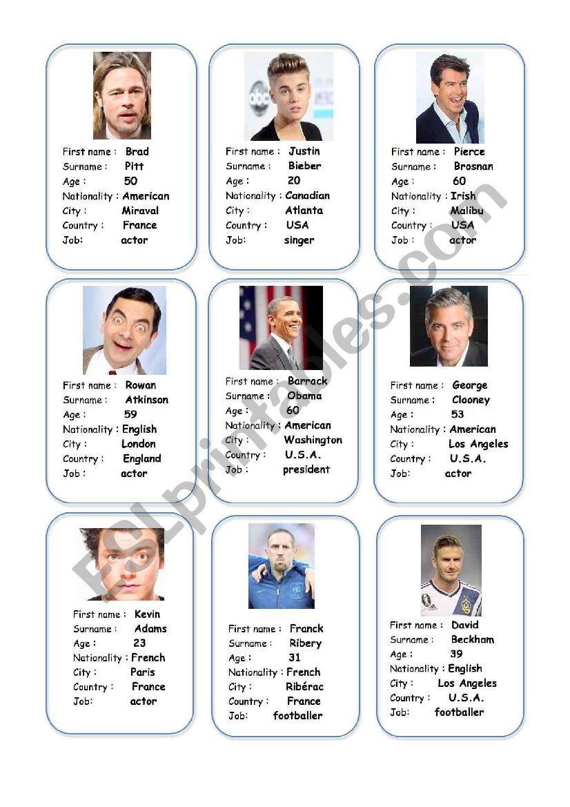 Celebrities ID cards. worksheet
