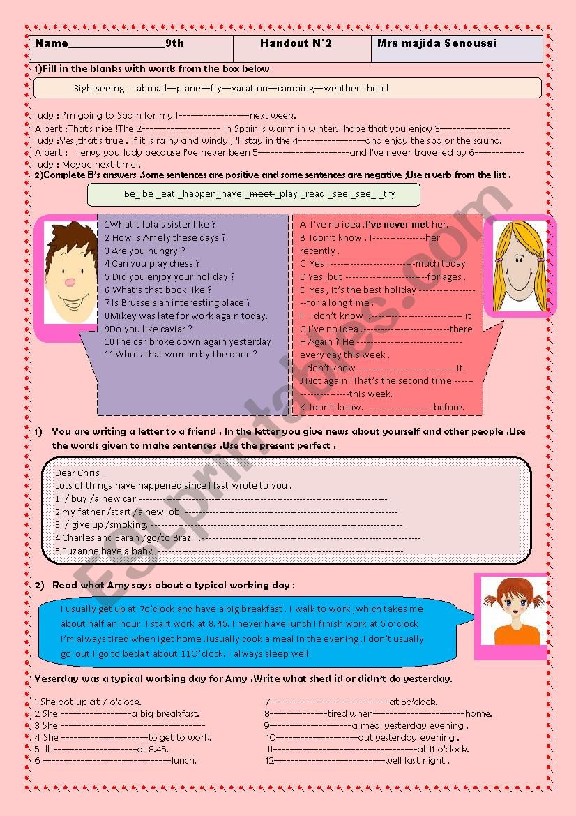 A n absolutely great handout for revising the present perfect , the simple past as well as vocabulary related to travel(airport & flight)