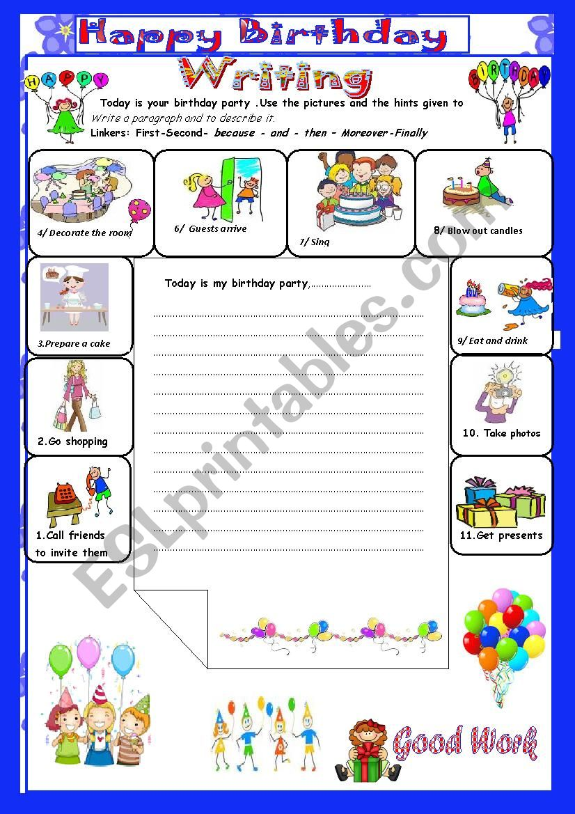 A birthday Party: Writing: (End Term 2 Test7th form)