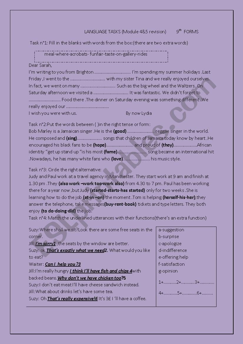 GRAMMAR REVISION worksheet