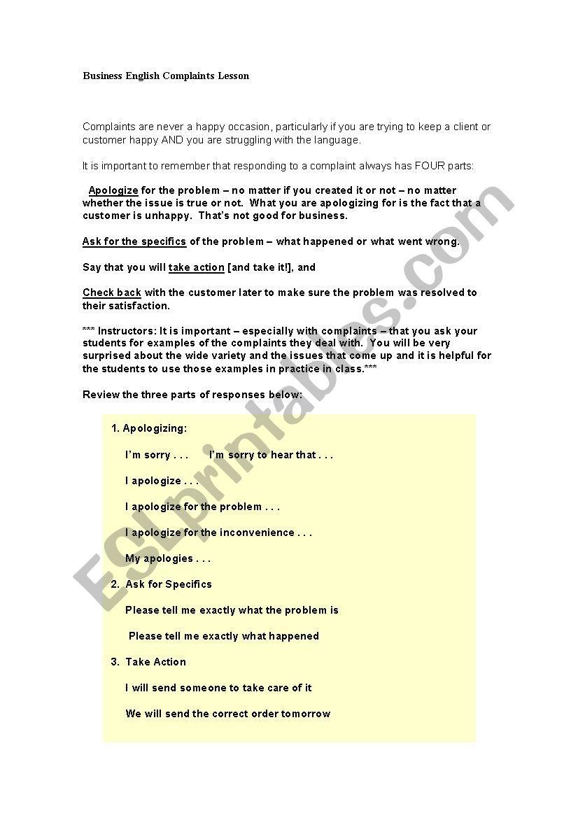 Sample Complaint - ESL worksheet by tiago_dsantos